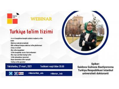 Turkiya ta'lim tizimi haqida vebinar